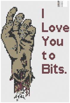 I Love You to Bits cross stitch pattern pdf zombie hand on Etsy, $5.00