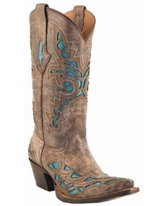 Lucchese Women's Carthage Lazer Design Boot - Desert with Turquoise Inlays $299.95