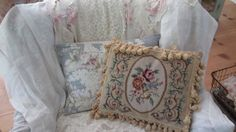 Vintage abussion needlepoint roses pillow tassles shabby chic victorian