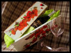 Vintage style wooden wine box with flowers and by FlowerDecoupage, €