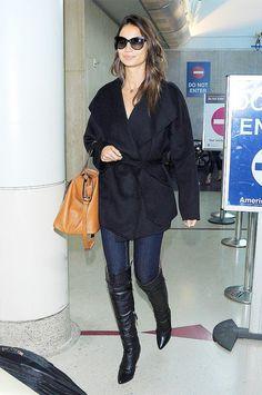 Lily Aldridge jeans and black coat