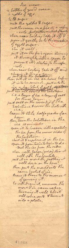 Abraham Lincoln's ice cream recipe, written in his own handwriting.