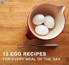 Here are 13 healthy recipes to help you enjoy eggs for any meal of the day, including dessert! #breakfast #dessert #dinner #eggs #lunch #recipes #snacks