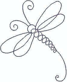 Dragonfly Line Machine Embroidery Design