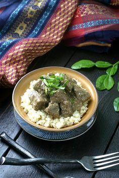 A flavorful slow-cooked beef stew with coconut milk, ginger, kaffir lime and lemongrass. Smells as good as it tastes!