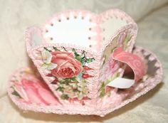 Vintage style Greeting Card Teacup & Saucer favor