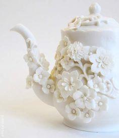 tea set, makiko nakamura, white flowers, ceramic teapots, tea time, tea pot, flower teapot, white teapot, floral designs