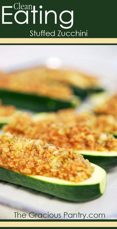 Clean Eating Stuffed Zucchini (ground turkey can (and should) be substituted for TVP as it is dehydrated soy, and soy is a HUGE GMO crop)