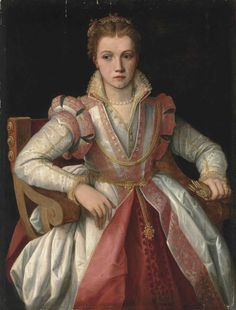 Portrait of a Lady in a white dress trimmed in pink, 16th century, artist was a follower of Francesco de'Rossi