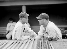 (l to r:) Boston Red Sox pitcher Herb Pennock and Boston Red Sox Bill Cissell at Fenway Park in 1934.