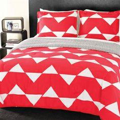 Red Zig Zag Twin XL Bedding Set