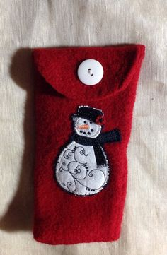 Felted wool Eye glass case true red color  snowman embroidery upcycled by mcleodhandcraftgifts,