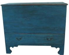 """Late 18th century New England Chest over a single dovetailed drawer , original blue paint, with it's original hardware, snipe hinges, nice high cut out foot .   18 1/2"""" deep x 41 1/4"""" wide x 33 3/4"""" tall"""