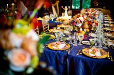 Blue and gold wedding table - very regal