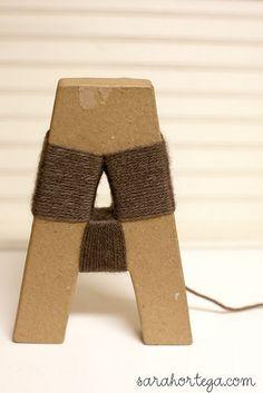 Yarn wrapped letter DIY