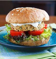 vegan chickpea burgers with tahini sauce