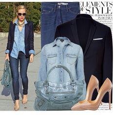 jean shirt + jeans + blazer