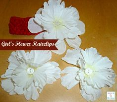 How to make Flower Hairbow / Hairclips For Little Girls using flowers from the Dollar Tree http://mamato5blessings.com/2013/04/how-to-make-flower-hair-bows-tutorial/
