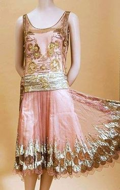 ~Silk and embroidered Art Deco Dress~