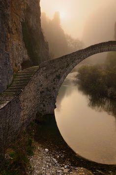stone bridg, arch stone, greece, beauti, place