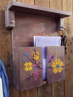 Mail Holder Letter Organizer Key Rack Cross Stitch by stedi - amazing idea! Us stitchers would olive this for keeping paperwork tidy ;)