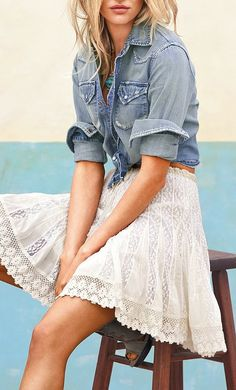 Chambray + Lace - sewing inspiration,  longer skirt of course!