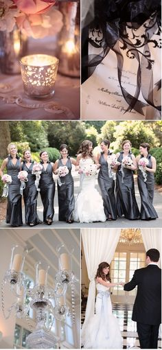 Silver grey and white wedding inspiration board.