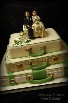 suitcase wedding in green