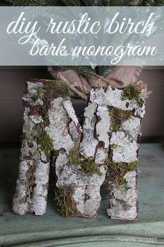 DIY rustic birch bark monogram