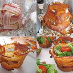 Weave bacon strips around a muffin tin covered in foil to catch drippings. Bake 375 for 15-20mins. Other ideas you could put scrabbled eggs or mashed potatoes or green beans inside your bowl...just other ideas