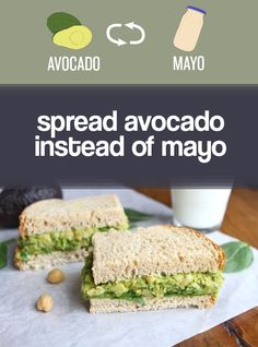 Upgrade sandwiches by spreading them with avocado instead of mayo. Sounds like a good idea to me....