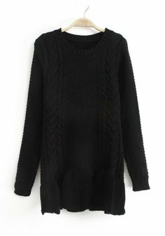 Black Plain Falbala Long Sleeve Wool Blend Sweater $38