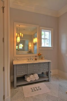 Palmetto Cabinet Studio - bathrooms - Ziyi Sconce, gray walls, gray bathroom walls, gray master bathroom walls, light blue ceiling, painted ...