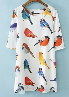Cute Round Neck Half Sleeve Animals Print Women Dress | Rosewe.com