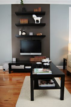 shelves above tv with painted backdrop