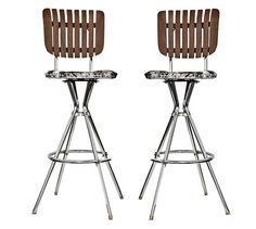 """Pair of 70""""s Stools Hide and Slats"""
