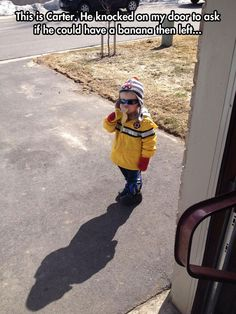 this kid is going places, carter the banana kid, funny pics, carter banana, funny images, funny photos, banana funny, kid funny, funny kids