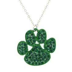 My Jewel Thief Paw Print Green Pave Crystal & Enamel Pendant Necklace : All Products