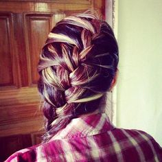 Red brown and blond braided hair