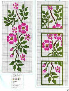 Cross-stitch Floral Bookmark