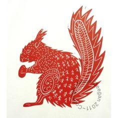 Original lino cut print Red Squirrel