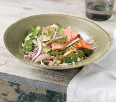 Minty Bulgur Salad With Salmon and Cucumbers recipe