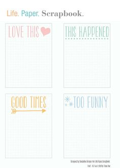 Free Grid Journal Cards for Project Life from Life. Paper. Scrapbook.