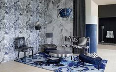 Cobalt Marbled Textures mixed with Graphic Black and White tropical and Geos christian-lacroix-2014-home-collection-2