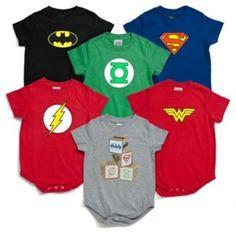 So cute! Nerdy superhero onesies.