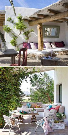Banquettes extérieures en maçonnerie, Terrasses, Jardins, Bancos de obra, Terrazas, Jardines