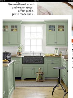 country kitchen... green cabinets... maybe try sky blue or grey?