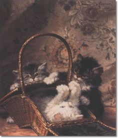 A Basket of Fun with Kittens Henriette Ronner Knip