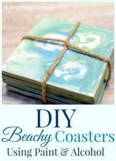 DIY Beachy Coasters ~ Mixing Acrylic Paint & Rubbing Alcohol gives you a dreamy result! #SummerCraft #DIYGifts #GiftstoMake #SummerColors