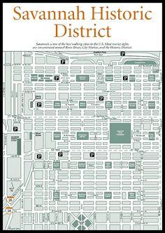 Map of Savannah Squares ... Squares, Homes, Museums, and Churches > Savannah Historic District Map